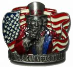 UNCLE SAM NEEDS YOU Belt Buckle + display stand